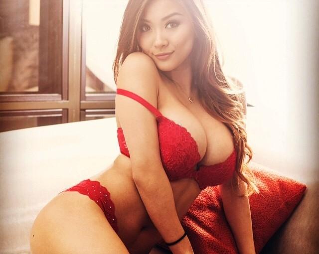 asian girl in red underwear
