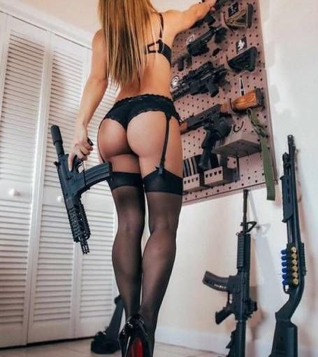 lingerie girl with guns