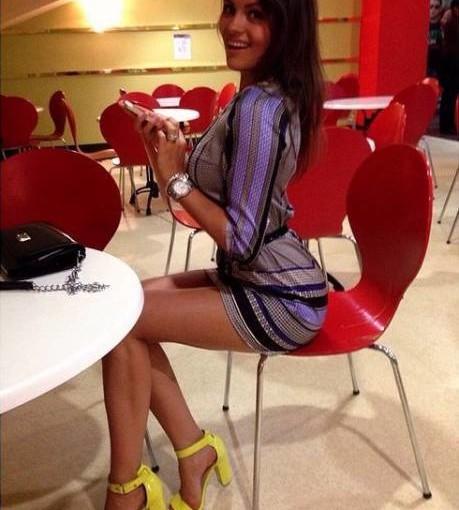 slim girl in a tight dress